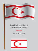 Turkish republic of northern cyprus wavy flag and coordinates — Stock Vector