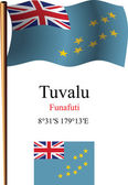 Tuvalu wavy flag and coordinates — Stock Vector