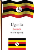 Uganda wavy flag and coordinates — Stock Vector