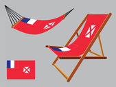 Wallis and futuna hammock and deck chair — Stock Vector