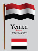 Yemen wavy flag and coordinates — Stock Vector