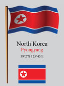 North korea wavy flag and coordinates — Stock Vector