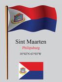 Saint martin wavy flag and coordinates — Stock Vector