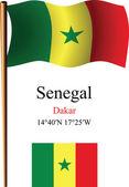 Senegal wavy flag and coordinates — Stock Vector