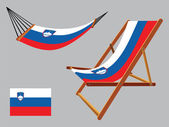 Slovenia hammock and deck chair set — Stock Vector