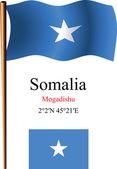 Somalia wavy flag and coordinates — Stock Vector