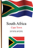 South africa wavy flag and coordinates — Stock Vector