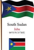 South sudan wavy flag and coordinates — Stock Vector