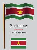 Suriname wavy flag and coordinates — Stock Vector