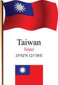 Taiwan wavy flag and coordinates — Stock Vector
