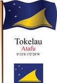 Tokelau wavy flag and coordinates — Stock Vector