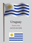 Uruguay wavy flag and coordinates — Stock Vector