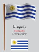 Uruguay wavy flag and coordinates — Stock Vector