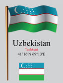 Uzbekistan wavy flag and coordinates — Stock Vector