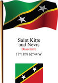 Saint kitts and nevis wavy flag and coordinates — Stock Vector