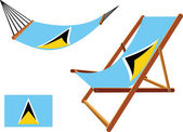 Saint lucia hammock and deck chair set — Stok Vektör