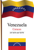 Venezuela wavy flag and coordinates — Stock Vector
