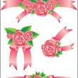 Stock Vector: Collection of vector rose with ribbons