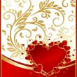 Elegant red background with heart — Imagens vectoriais em stock