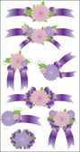 Collection of violet bows — Stock Vector
