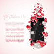 Mobile phone with hearts — Stock Vector