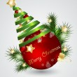 Royalty-Free Stock Imagen vectorial: Christmas card with red ball, vector illustration