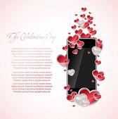 Teléfono móvil con corazones — Vector de stock