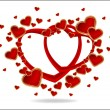 Illustration with wedding rings and Red Heart — Imagen vectorial