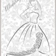 Bridal dress with floral pattern - Stock Vector