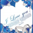 Card with glossy blue hearts — Grafika wektorowa