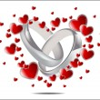 Illustration with wedding rings and Hearts — Stock Vector