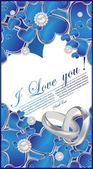 Card with glossy blue hearts — Vector de stock