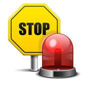 Roja parpadeante luz de emergencia y señal de stop — Vector de stock
