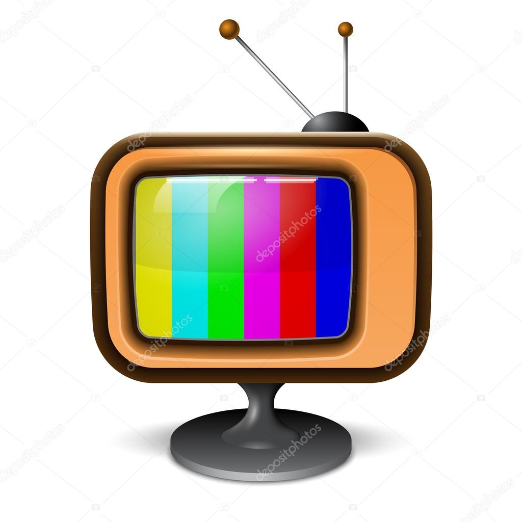 Icono realista retro color tv archivo im genes - Sin televisor ...