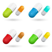 Color capsule pills on white. Vector Illustration — Stock Vector