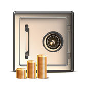 Metal Safe with Coins Icon. — Stock Vector