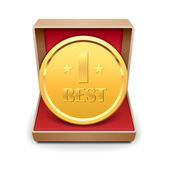 Golden medal in red gift box. — Stock Vector