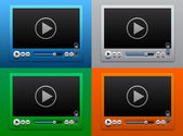 Glass Video Player for Web on Color background — Stock Vector