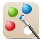 Palette with paints and brushes - vector icon. — Stock Vector