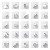 Set of flat design icons with long shadows. — Stock Vector