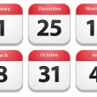 Calendar icons with holiday dates — Stock Vector