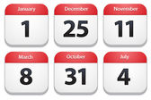 Calendar icons with holiday dates — Vector de stock