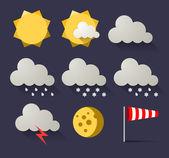 Zestaw ikon płaskie Pogoda. Ilustracja wektorowa — Wektor stockowy