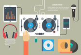 Vector turntable and dj hand - music concept in flat style — Stock Vector