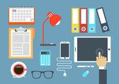 Flat design of routine organization of modern business workspace — Stock Vector