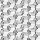 Seamless geometric pattern with cubes and vary width lines — Stock Vector
