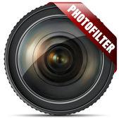 写真のコンセプトのレンズ — ストックベクタ