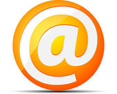 Mail yellow circle icon. Vector illustration. — 图库矢量图片