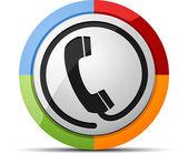 Coloured phone vector button icon — Stock Vector
