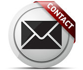 E-mail grey icons with red ribbon — ストックベクタ